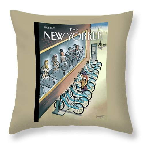Workout Throw Pillow featuring the painting New Yorker June 3, 2013 by Marcellus Hall