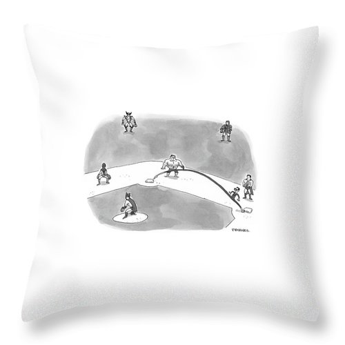 Psychology Word Play Problems  (two Women Walking Down The Street.) 120690 Pby Pat Byrnes Throw Pillow featuring the drawing I'm Doing A Lot Better Now That I'm Back by Pat Byrnes