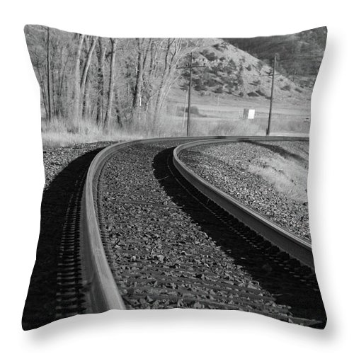 Trains Throw Pillow featuring the photograph Up Around The Bend by Jim Babb