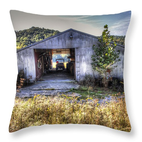 Todd Carter Indiana Pole Barn Weed Weeds Hill Hills Tree Trees Mule Four Wheeler Tools Shed Green Yellow Brown Grey Blue White Silver Throw Pillow featuring the photograph Up At The Barn by Todd Carter