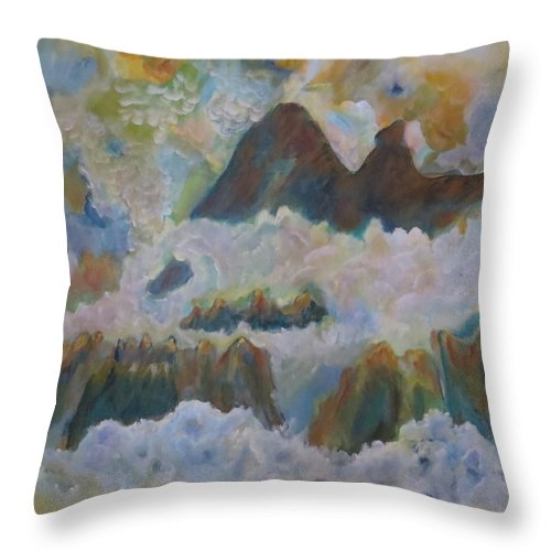 Abstract Throw Pillow featuring the painting Up On Cloud Nine by Soraya Silvestri