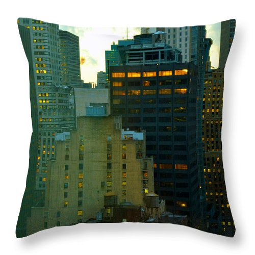 New York Skyline Throw Pillow featuring the photograph Up - Skyscrapers Of New York by Miriam Danar