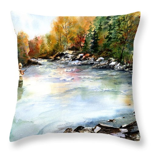 Fishing Throw Pillow featuring the painting Up Stream by Marti Green