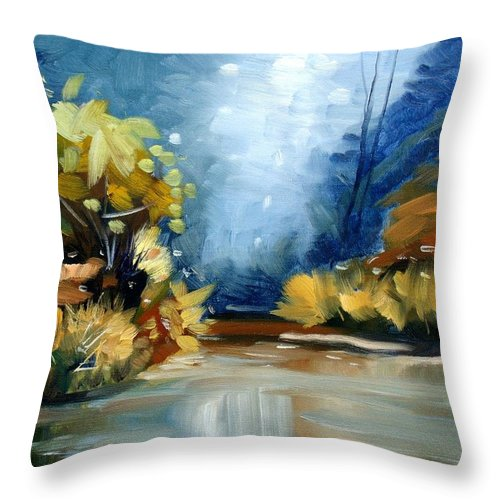 Landscape Throw Pillow featuring the painting Up The Creek by Elena Sokolova