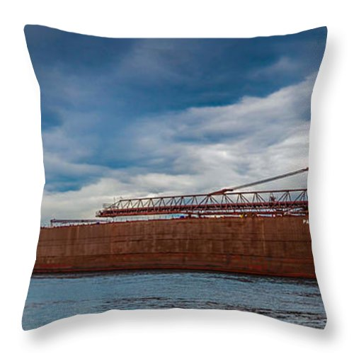 Sault Ste. Marie Throw Pillow featuring the photograph Upbound At Mission Point 2 by Gales Of November