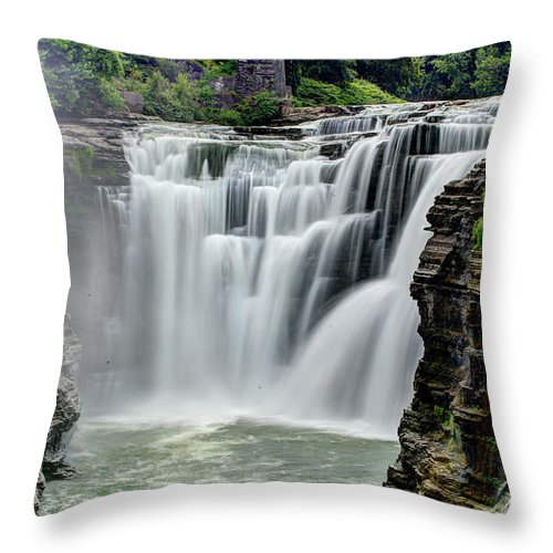 Letchworth State Park Throw Pillow featuring the photograph Upper Letchworth Falls by Tony Shi Photography