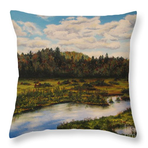 River Throw Pillow featuring the painting Upper Sacandaga River by Nancie Johnson