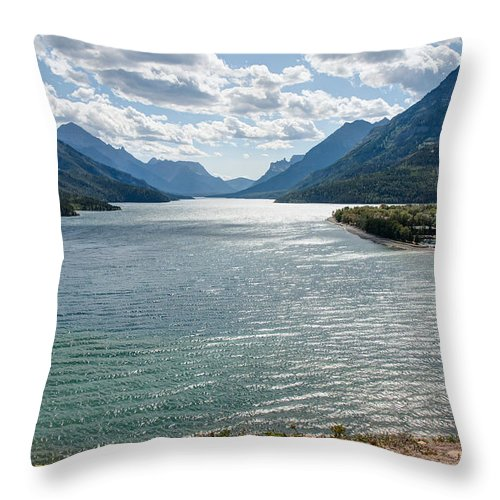 Waterton Lakes National Park Throw Pillow featuring the photograph Upper Waterton Lake by John M Bailey