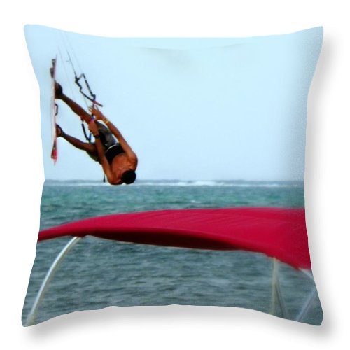 Wind Surfing Throw Pillow featuring the photograph Upside Down World by Karen Wiles