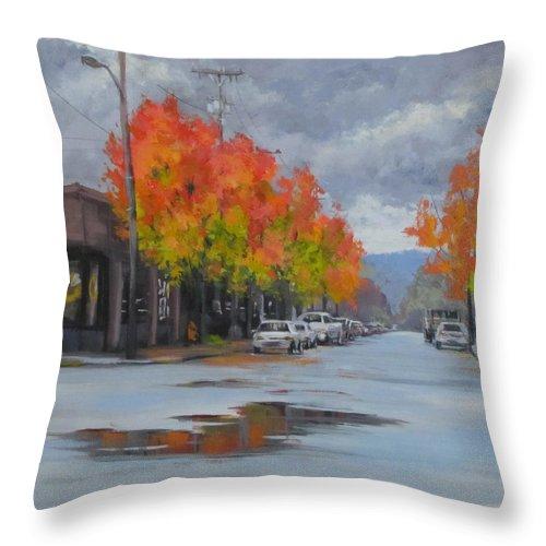 Autumn Throw Pillow featuring the painting Urban Autumn by Karen Ilari