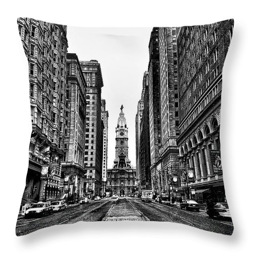 City Throw Pillow featuring the photograph Urban Canyon - Philadelphia City Hall by Bill Cannon