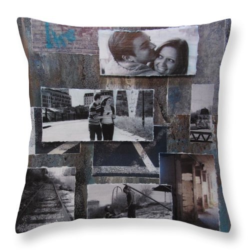 Layered Throw Pillow featuring the mixed media Urban Decay Engagement Collage by Anita Burgermeister