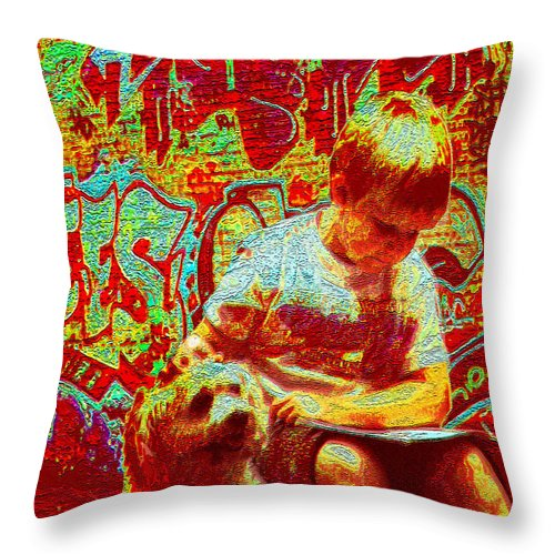 Graffiti Throw Pillow featuring the digital art Urban Reading by Jane Schnetlage