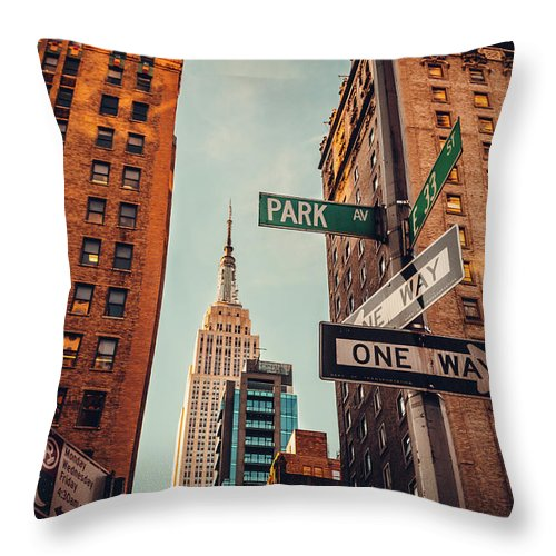 Shadow Throw Pillow featuring the photograph Urban Skyline In Midtown Manhattan With by Kolderal