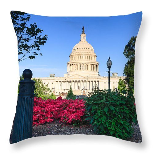 Us Capitol Throw Pillow featuring the photograph Us Capitol And Red Azaleas by Carol VanDyke