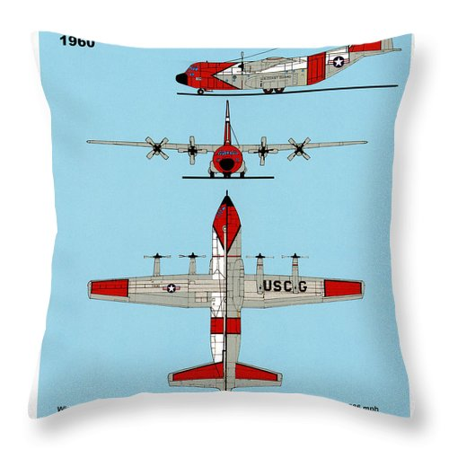 Uscg Throw Pillow featuring the drawing Coast Guard Hc-130 B Hercules by Jerry McElroy