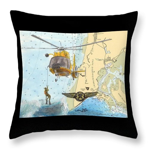 Uscg Throw Pillow featuring the painting Us Coast Guard Rescue Swimmer Nautical Chart Art Cathy Peek by Cathy Peek