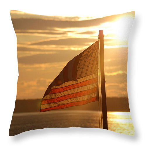Sunset Throw Pillow featuring the photograph Us Flag At Sunset by DejaVu Designs