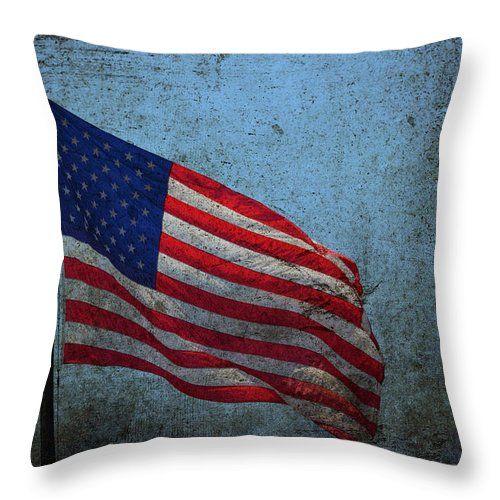Flag Throw Pillow featuring the photograph Us Flag -blue Antiqued by Lesa Fine