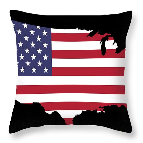Map Throw Pillow featuring the photograph Usa And Flag by Pete Trenholm