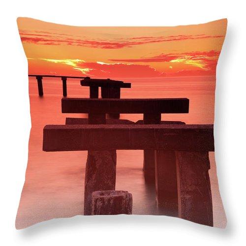 Tranquility Throw Pillow featuring the photograph Usa, Florida, Boca Grande, Ruined Pier by Henryk Sadura