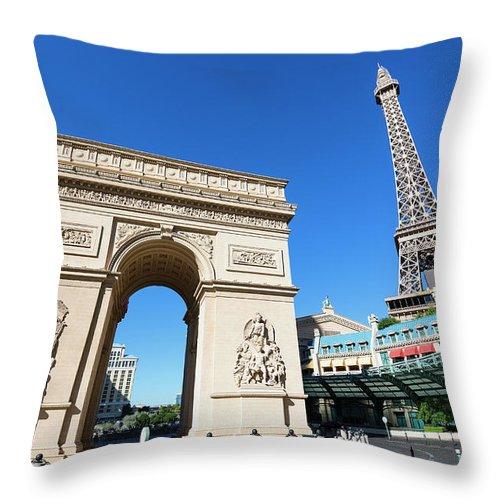 Arch Throw Pillow featuring the photograph Usa, Nevada, Las Vegas, Paris Las Vegas by Sylvain Sonnet