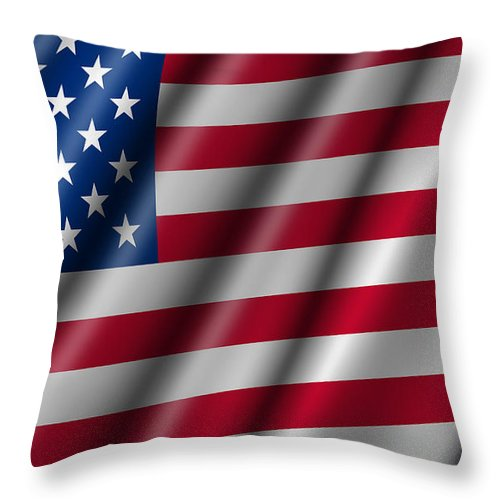 Usa Throw Pillow featuring the photograph Usa Stars And Stripes Flying American Flag by David Gn