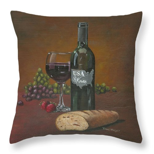 Wine Themed Painting Throw Pillow featuring the painting Usa Wine by Terri Meyer