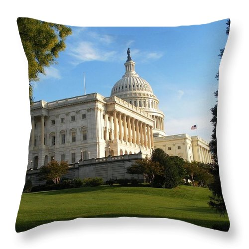 U.s. Capitol Throw Pillow featuring the photograph U. S. Capitol by Natalie Ortiz