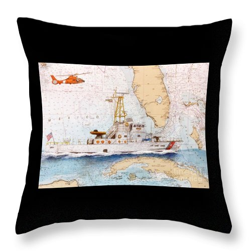 Uscg Throw Pillow featuring the painting Uscg Sapelo Helicopter Fl Nautical Chart Map Art Peek by Cathy Peek