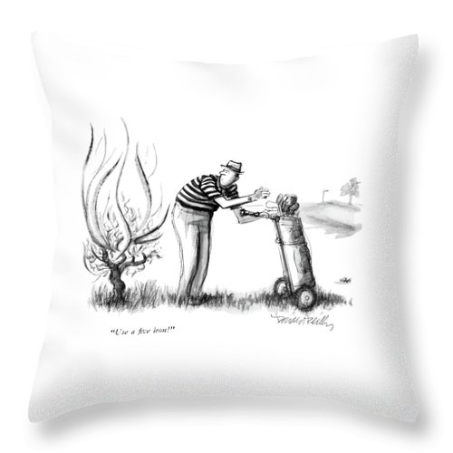 (burning Bush Speaking To Startled Golfer.) Leisure Throw Pillow featuring the drawing Use A Five Iron! by Donald Reilly