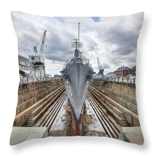 Uss Cassin Young Throw Pillow featuring the photograph Uss Cassin Young by Eric Gendron