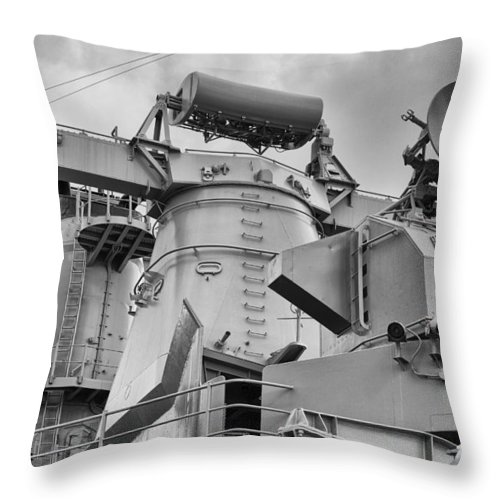 Uss Arizona Memorial Throw Pillow featuring the photograph Uss Missouri- Radar System by Douglas Barnard