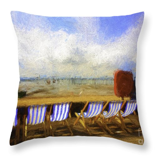 Clouds Throw Pillow featuring the photograph Vacant deckchairs by Sheila Smart Fine Art Photography