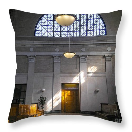 Johnstown Throw Pillow featuring the photograph Vacant Railroad Station by John Waclo