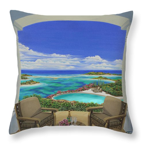 Ocean Throw Pillow featuring the painting Vacation View by Jane Girardot