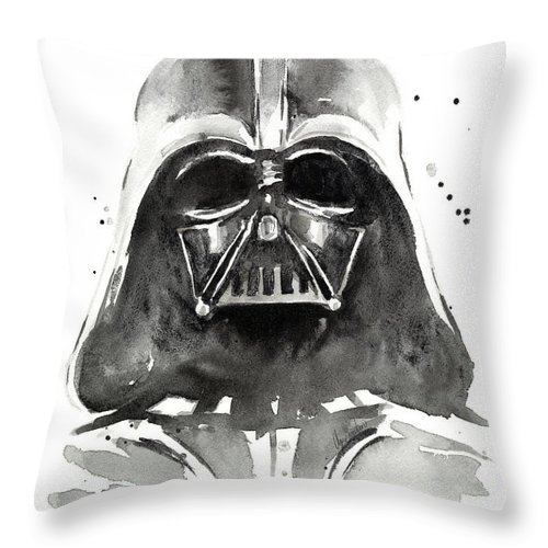 Watercolor Throw Pillow featuring the painting Darth Vader Watercolor by Olga Shvartsur