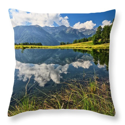 Alpine Throw Pillow featuring the photograph Val Di Sole - Covel Lake by Antonio Scarpi