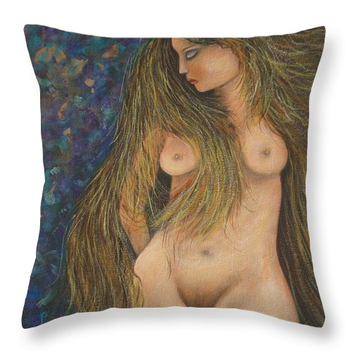 Woman Throw Pillow featuring the painting Valencina by Natalie Holland