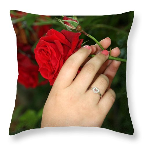 Red Rose Throw Pillow featuring the photograph Valentine Rose by Diana Haronis