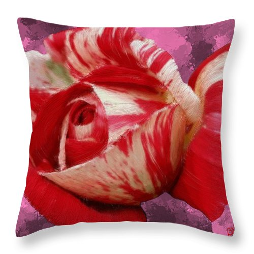 Red Throw Pillow featuring the painting Valentine's Day Rose by Bruce Nutting