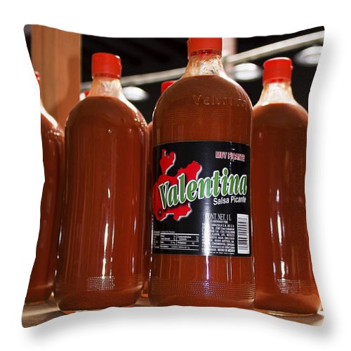 Throw Pillow featuring the photograph Valentines Hot Sauce by Cathy Anderson