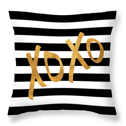 Valentines Throw Pillow featuring the digital art Valentines Stripes IIi by South Social Studio