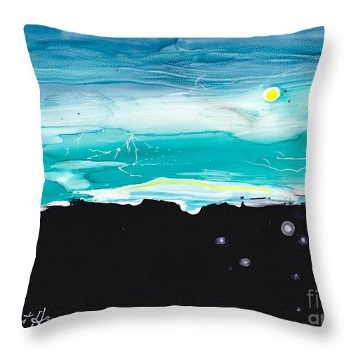 Lightning Throw Pillow featuring the painting Valle Cruceisnc Storm by Robert ARTSYBOB Havens
