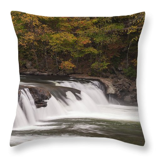 Waterfall Throw Pillow featuring the photograph Valley Falls Scene 2 by John Brueske