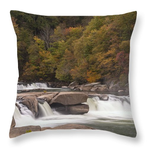 Waterfall Throw Pillow featuring the photograph Valley Falls Scene 6 by John Brueske