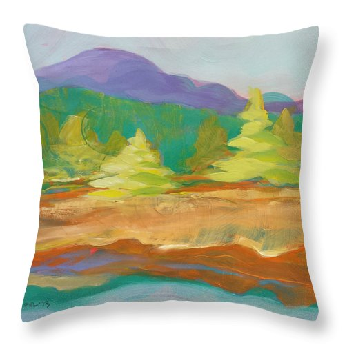 Valley Throw Pillow featuring the painting Valley Morning 13 by Pam Van Londen