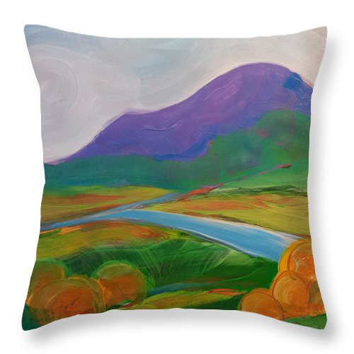 Valley Throw Pillow featuring the painting Valley Morning 16 by Pam Van Londen