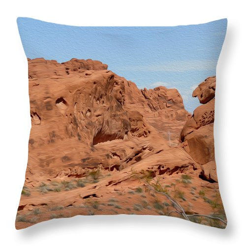 Valley Of Fire State Park Throw Pillow featuring the photograph Valley Of Fire Rock Formations by Tracy Winter