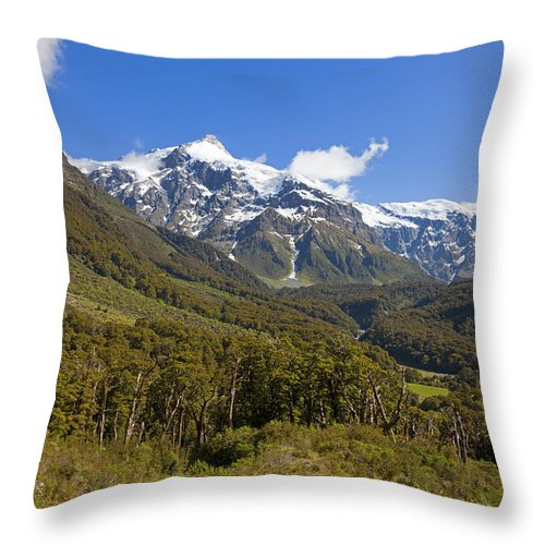 Mountain Throw Pillow featuring the photograph Valley View by Alexey Stiop